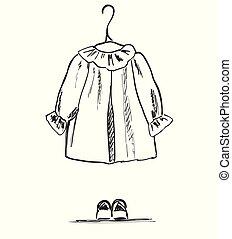 sketch., גלויה, collage., clothes., העבר, נעל, תינוק, צייר, ילדה, התלבש, ילדים