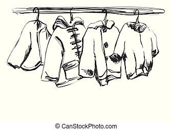 sketch., hanger., העבר, מלתחה, תינוק, צייר, בגדים