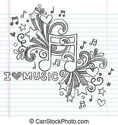 sketchy, אהוב, מוסיקה, וקטור, doodles