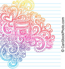 sketchy, ראה, מוסיקה, וקטור, doodles