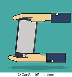 smart-phone, קשר, החזק, *c*, העבר