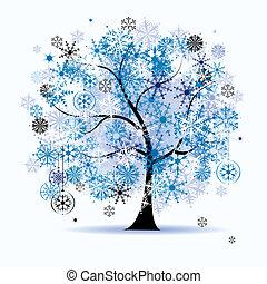 snowflakes., עץ, holiday., חורף, חג המולד