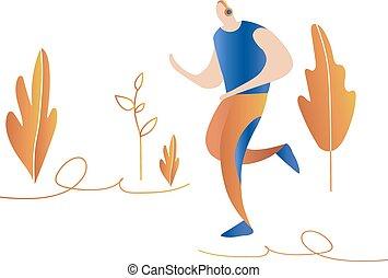 sprinter., טבע, לרוץ, men., זכר, ציור היתולי