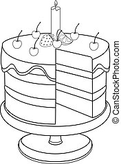 stand., מישהו, lemon., תותי שדה, חתוך, דוגמה, -, עוגה, אחסן, outline., קרם, ליניארי, בלי, דובדבנים, חתיכה, נר, coloring.