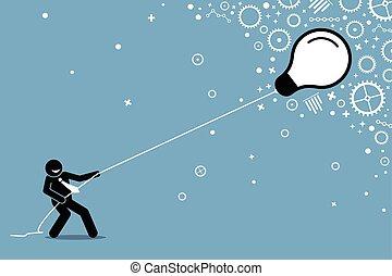 string., אור, לטוס, למשוך, נורת חשמל, איש עסקים, לצוף