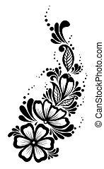 style., פרחים, עוזב, ראטרו, פרחוני, לבן שחור, עצב, element., יפה, יסוד