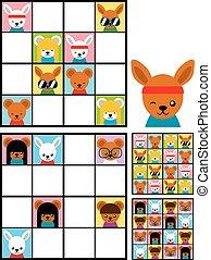 sudoku, ילדים, ראשים, בלבל, בעל חיים, ציור היתולי
