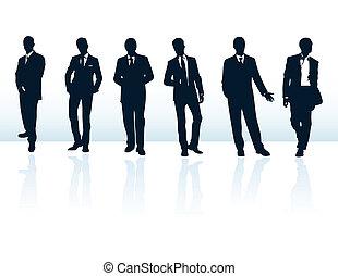 suits., יותר, איש עסקים, כחול, צלליות, שלי, קבע, וקטור, חושך, gallery.