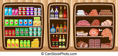 supermarket., shelfs, אוכל.