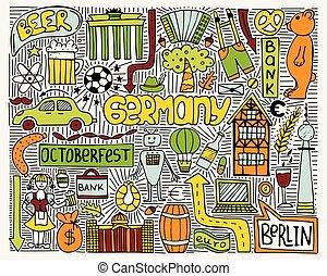 symbols., צבע, שרבט, קיר, וקטור, גרמניה, פוסטר, art.