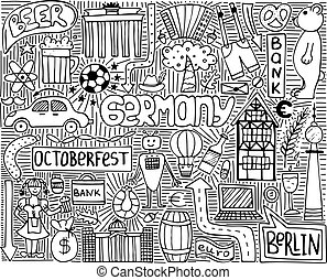 symbols., קיר, שרבט, וקטור, גרמניה, פוסטר, בצבע אחד, art.