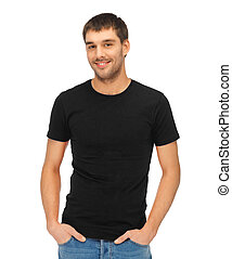 *t* חולצה, איש, שחור, טופס