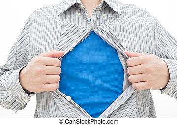 *t* חולצה, למשוך, פתוח, איש של עסק