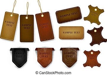 tags., קבע, מדבקות, עור, גדול