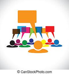 talking(speech, מושג, &, graphic-, עובדים, וקטור, bubbles), מנהיג