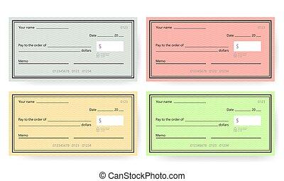 template., טופס, בנקאות, דוגמה, בדוק, וקטור