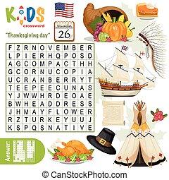 """thanksgiving, תשבץ, חפש, קל, day"", בלבל, מילה"