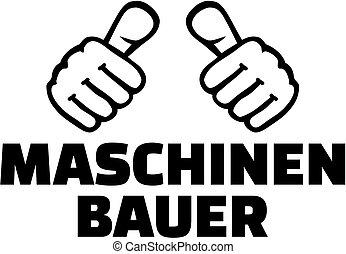 thumbs., גרמני, *t* חולצה, מכני, הנדס, design.
