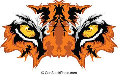 tiger, עיניים, קמיע, גרפי