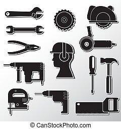 tools..., איקונים, רקע., כלים, קדוח, הפרד, וקטור, אפור, בניה, מפתח ברגים קובע, הבס, מברג, הנע, דמות, ראה