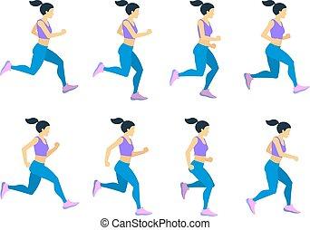 tracksuit., קבע, ספורטאי, צעיר, לרוץ, וקטור, נקבה, מסגרות, ילדה, אנימציה
