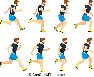 tracksuit., frames., ספורטאי, הפרד, צעיר, לרוץ, וקטור, דוגמות, לבן, ספורט, אנימציה, איש