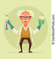 tube., משוגע, ישן, דירה, אופי, דוגמה, מדען, וקטור, בחון, החזק, ציור היתולי