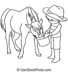 *v*, ילד, האכלה, סוס, לצבוע ספר