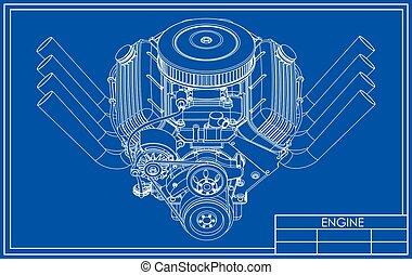 v8, מנוע, מוט חם, ציור