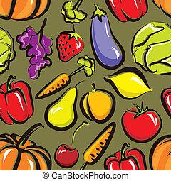 vegetables., אוכל, תבנית, seamless, פרי, וקטור, רקע