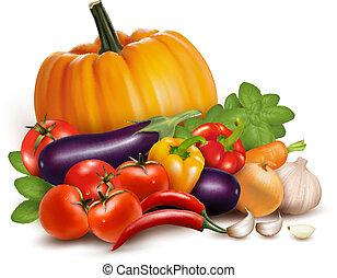 vegetables., בריא, דוגמה, אוכל., וקטור, טרי