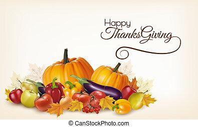 vegetables., צבעוני, עוזב, הודיה, סתו, רקע, פירות, שמח, vector.