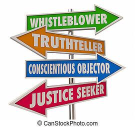 whistleblower, חיצים, דוגמה, 4, מילים, סימנים, 3d