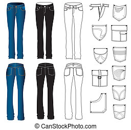 white., וקטור, ג'ינס, בגדים