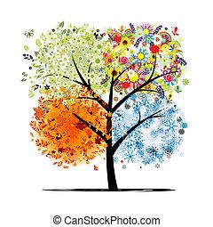 winter., יפה, אומנות, קפוץ, סתו, -, עץ, ארבעה, עצב, עונות, שלך, קיץ