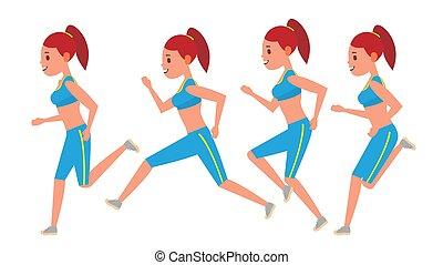workout., runner., character., נקבה, מסגרות, sportswear., הבט., ספורט, מרתון, set., הפרד, אנימציה, vector., ריצה באיטיות, דירה, אישה, דוגמה, לרוץ, ספורטאי, רוץ, כושר גופני, תמוך, דרך